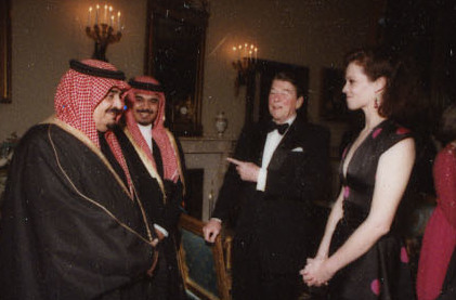 Reagan with actress Sigourney Weaver and King Fahd of Saudi Arabia in 1985. The U.S. and Saudi Arabia supplied money and arms to the anti-Soviet fighters in Afghanistan. Reagan Contact Sheet C27275 (cropped).jpg
