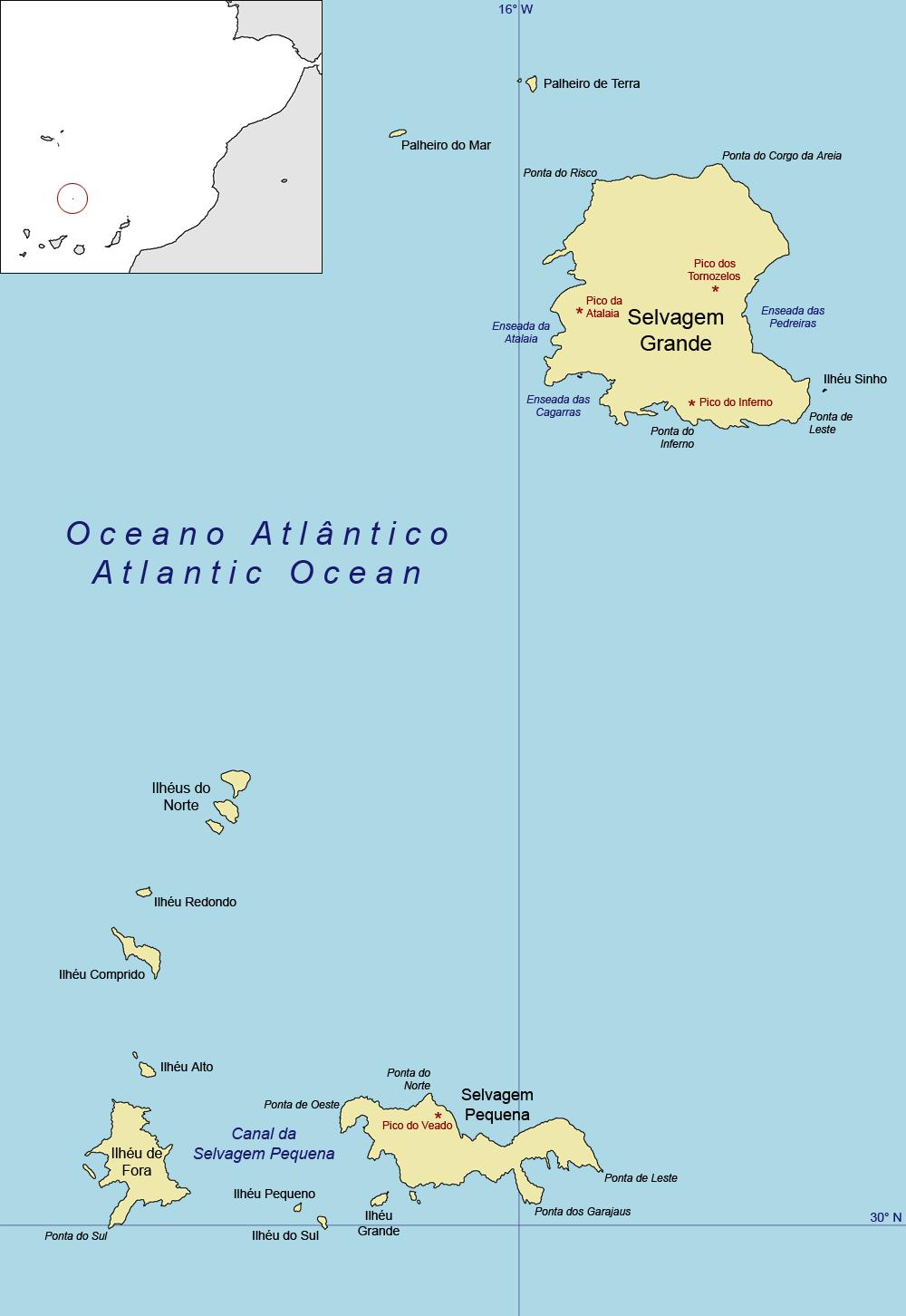 mapa das ilhas dos açores e madeira Ilhas Selvagens – Wikipédia, a enciclopédia livre mapa das ilhas dos açores e madeira