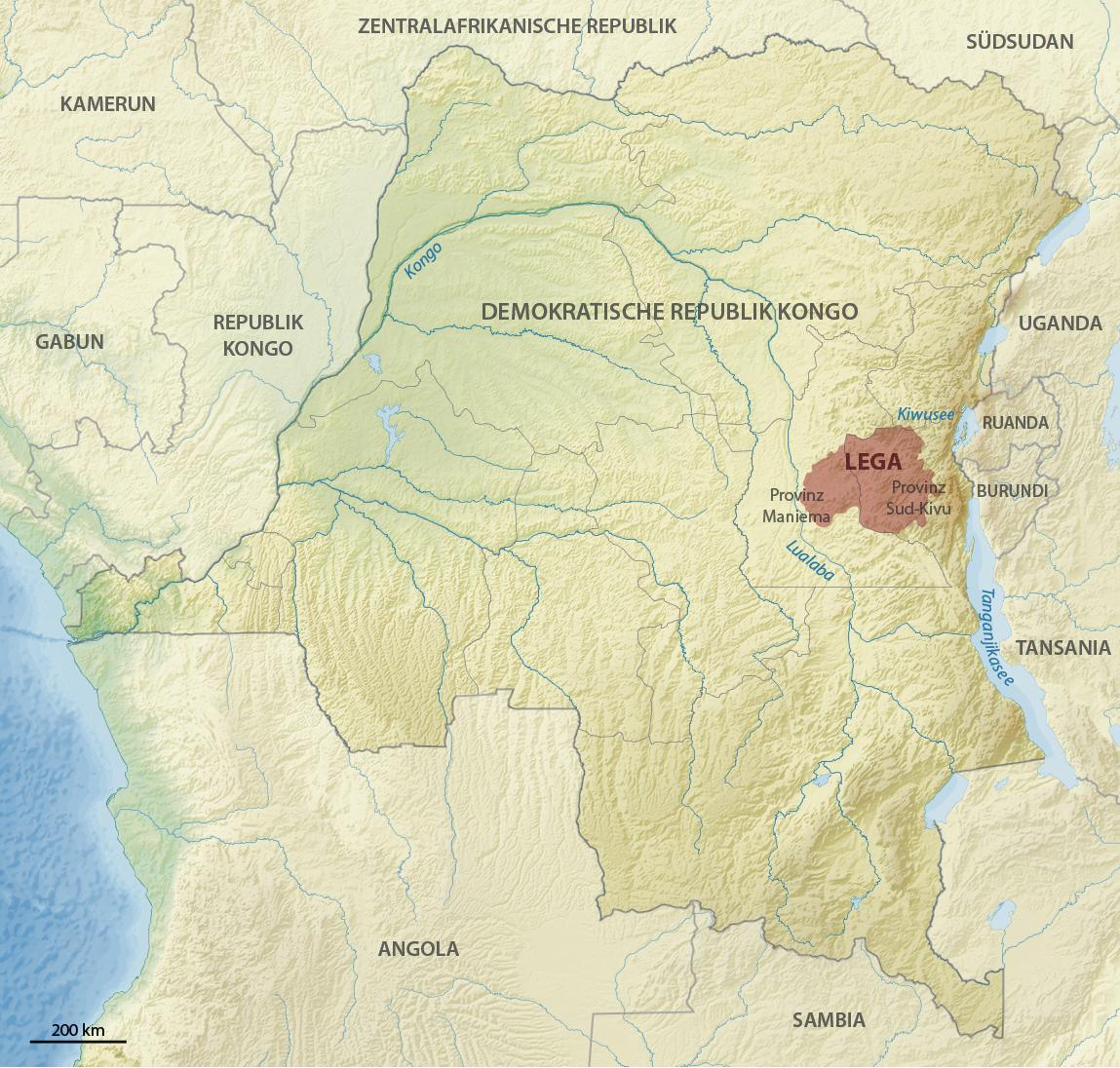 Lega territory map african art Congo