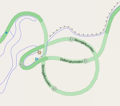 Map of Storegjeltunnelen and Dalbergtunnelen in Mabodalen gorge, a complex system of horseshoe curves and tunnels on Norwegian National Road 7. Storegjeltunnelen OSM.JPG