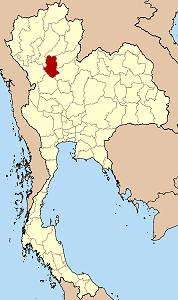 Map of Thailand highlighting Sukhothai Province}