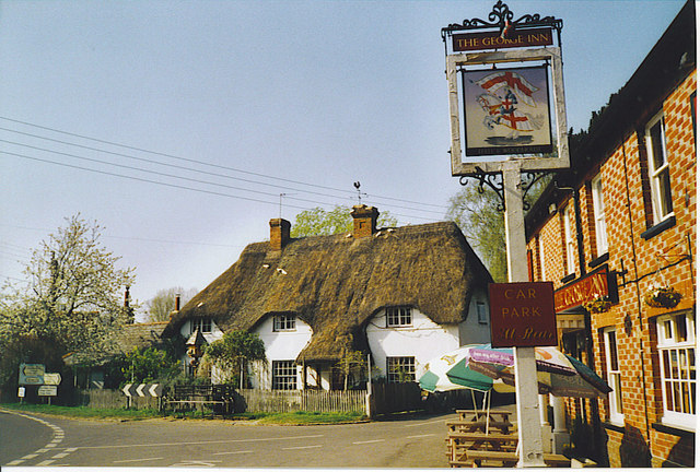 Thatched Cottage and The George Inn, St Mary Bourne. - geograph.org.uk - 193067.jpg
