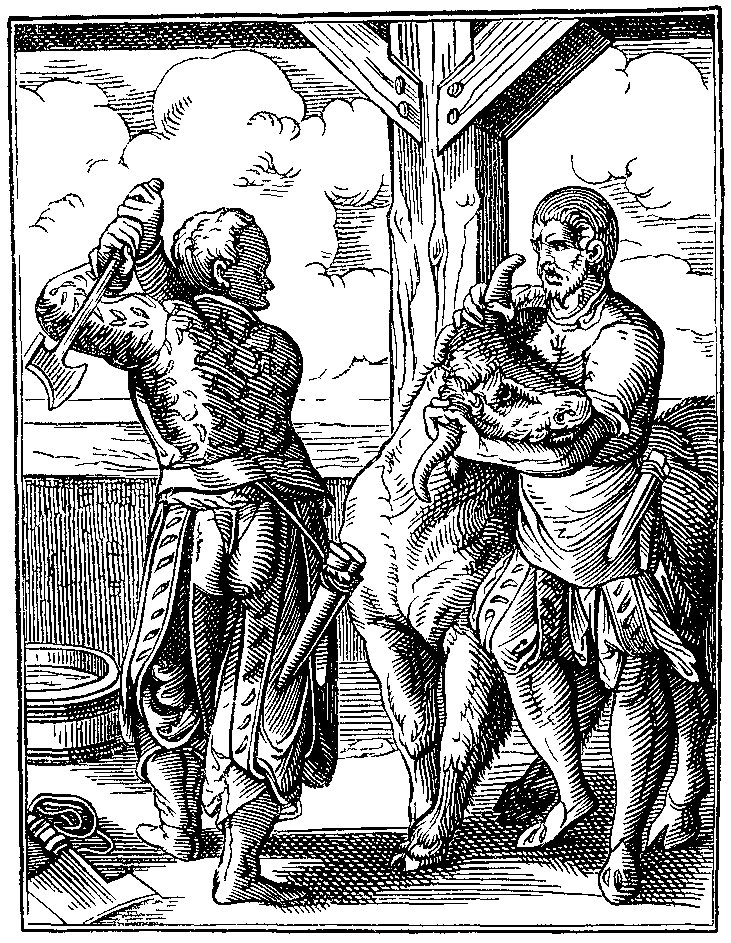 The Butcher and his Servant drawn and engraved by J Amman Sixteenth Century.png
