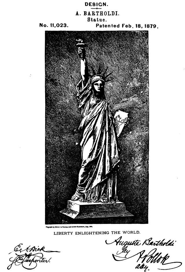 This is Bartholdi's design patent for the Statue of Liberty, issued in 1879