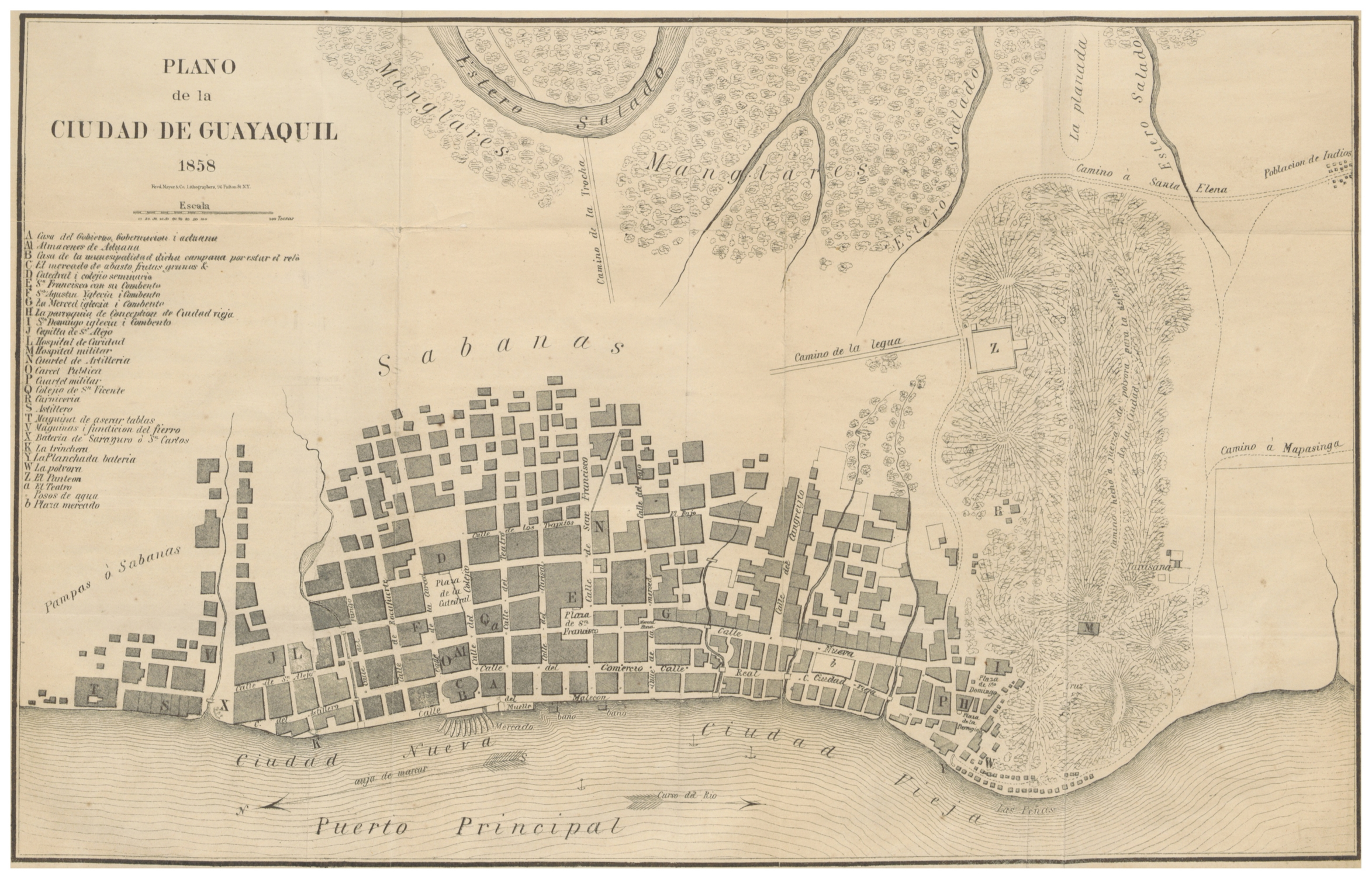 File Villavicencio 1858 P483 Plano De La Ciudad De Guayaquil 1858 Jpg Wikimedia Commons