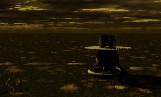 Vue d'artiste de l'atterrisseur Venera 9 posé sur le sol de Vénus.