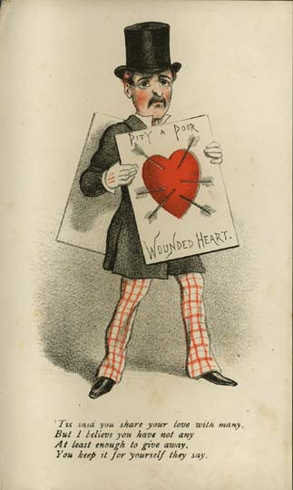 Wounded Heart Vinegar Valentine 1870s