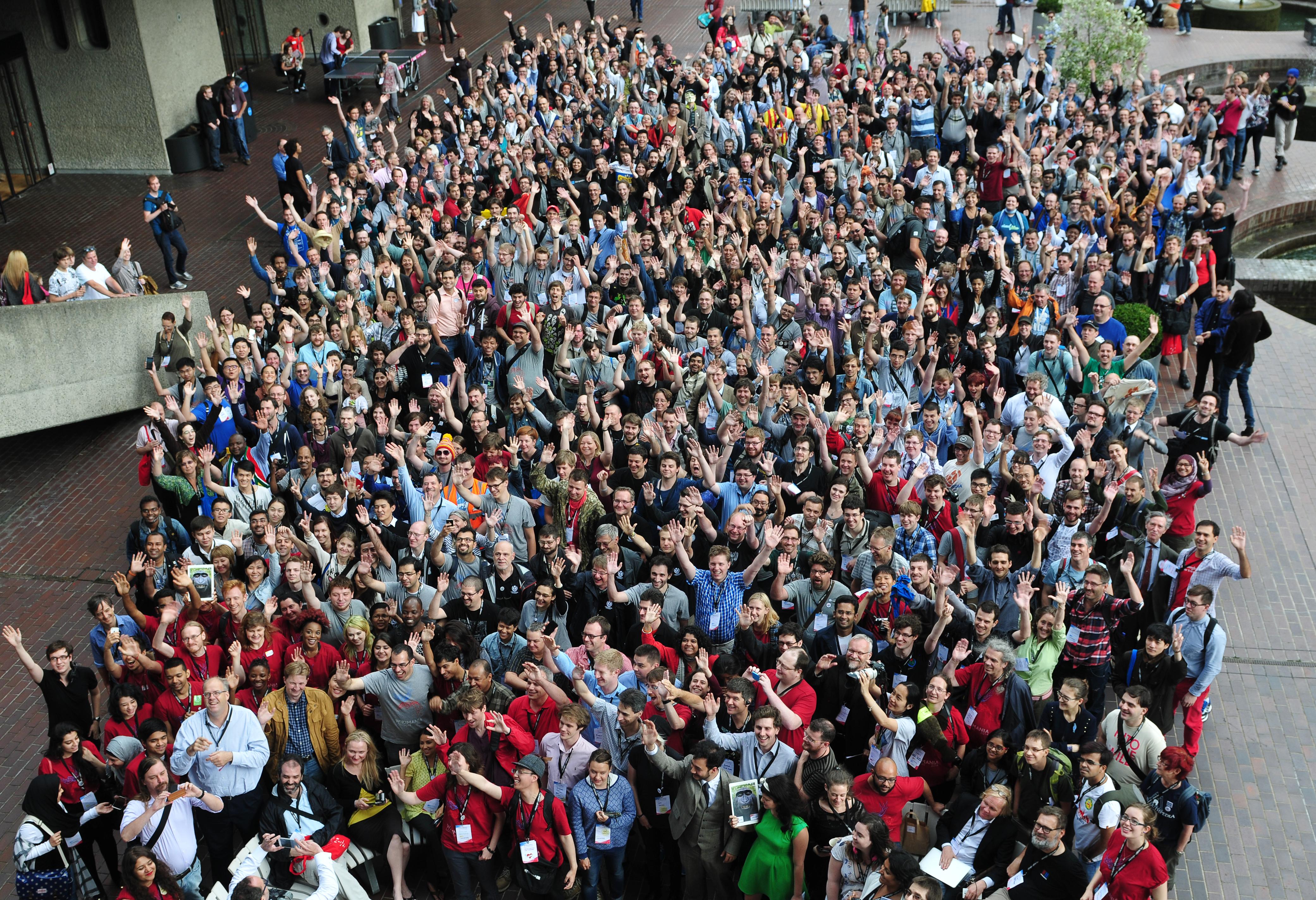 Några av de som besökte Wikimania 2014.