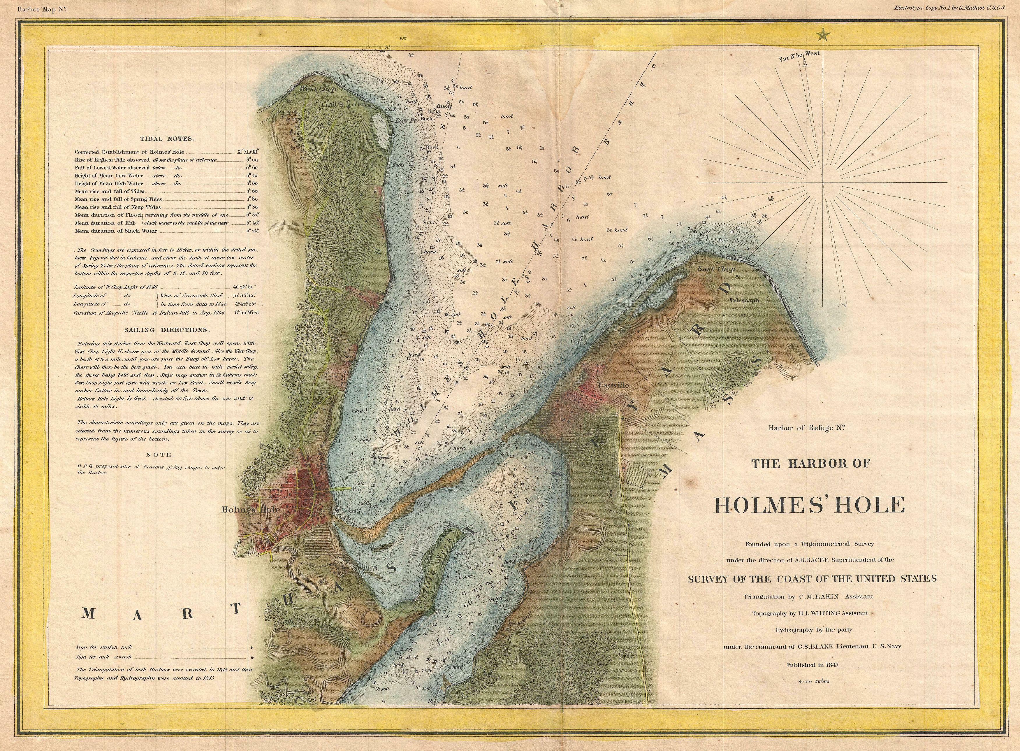 File1847 U S Coast Survey Map Of Holmes Hole Vineyard
