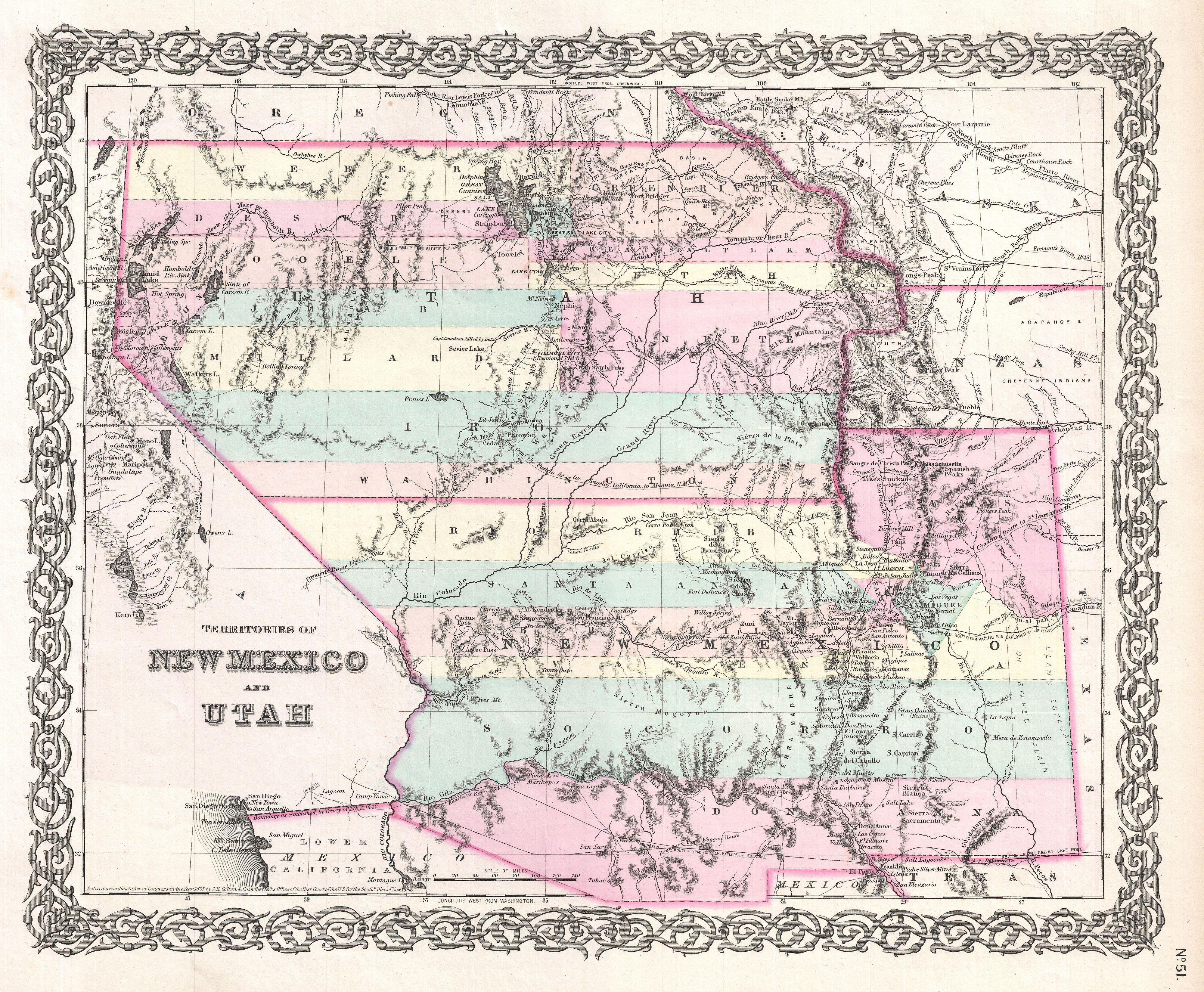 File Colton Map Of Utah And New Mexico First Edition First - Map of utah
