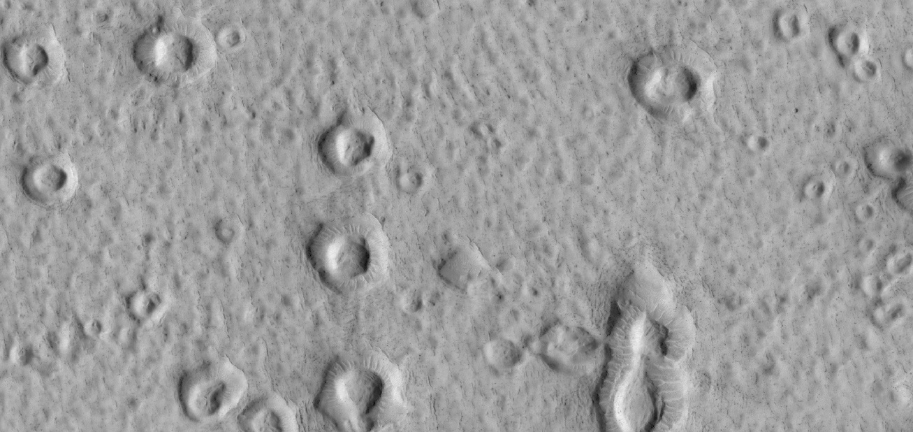 Close view of possible ring-mold craters on floor of large crater, as seen by HiRISE under the HiWish program