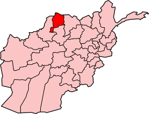 Map showing Jowzjan province in Afghanistan