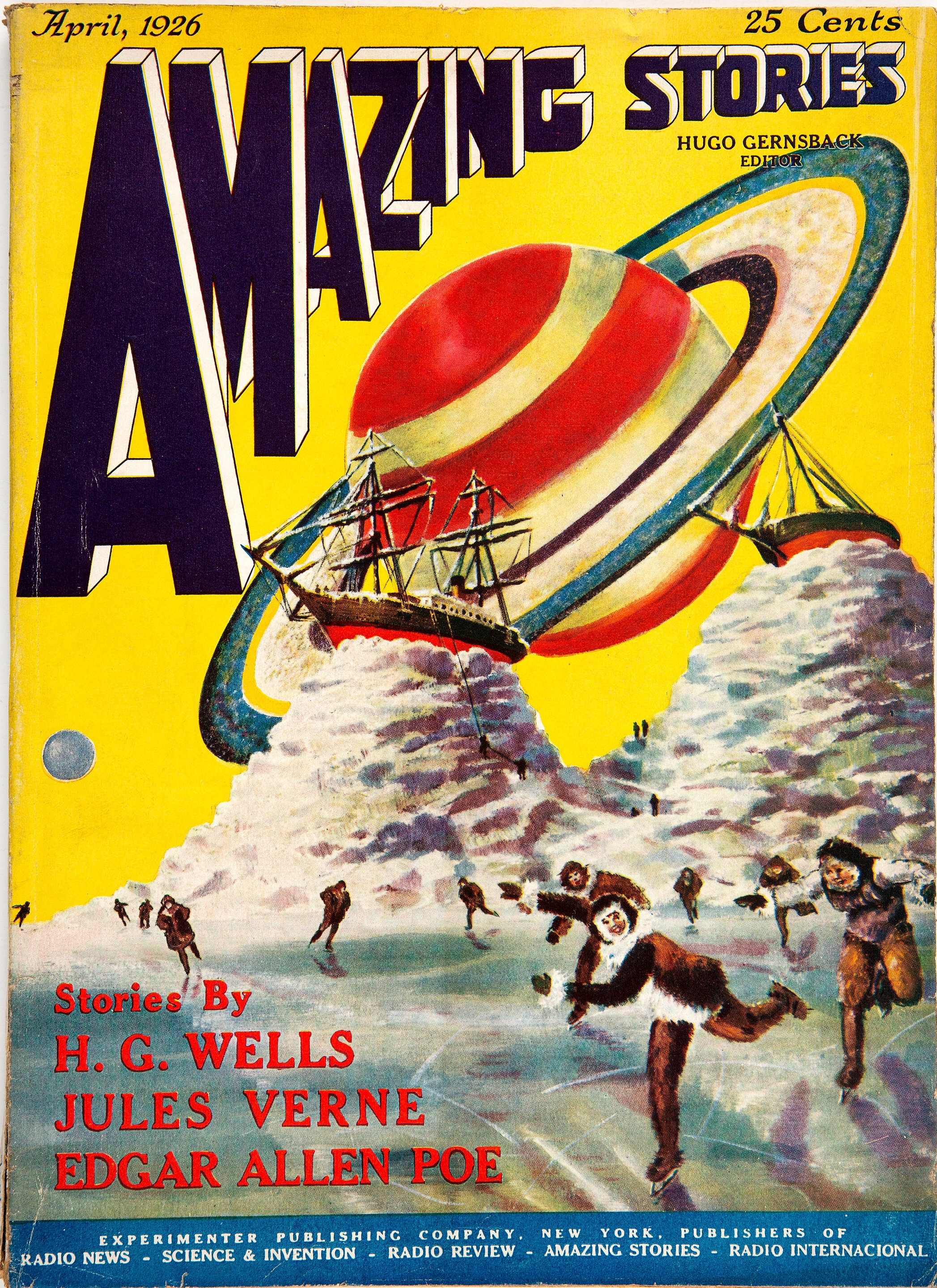 Amazing Stories, April 1926, Volume 1 Number . Credit: Published by Experimenter Publishing Co./Wikimedia Commons