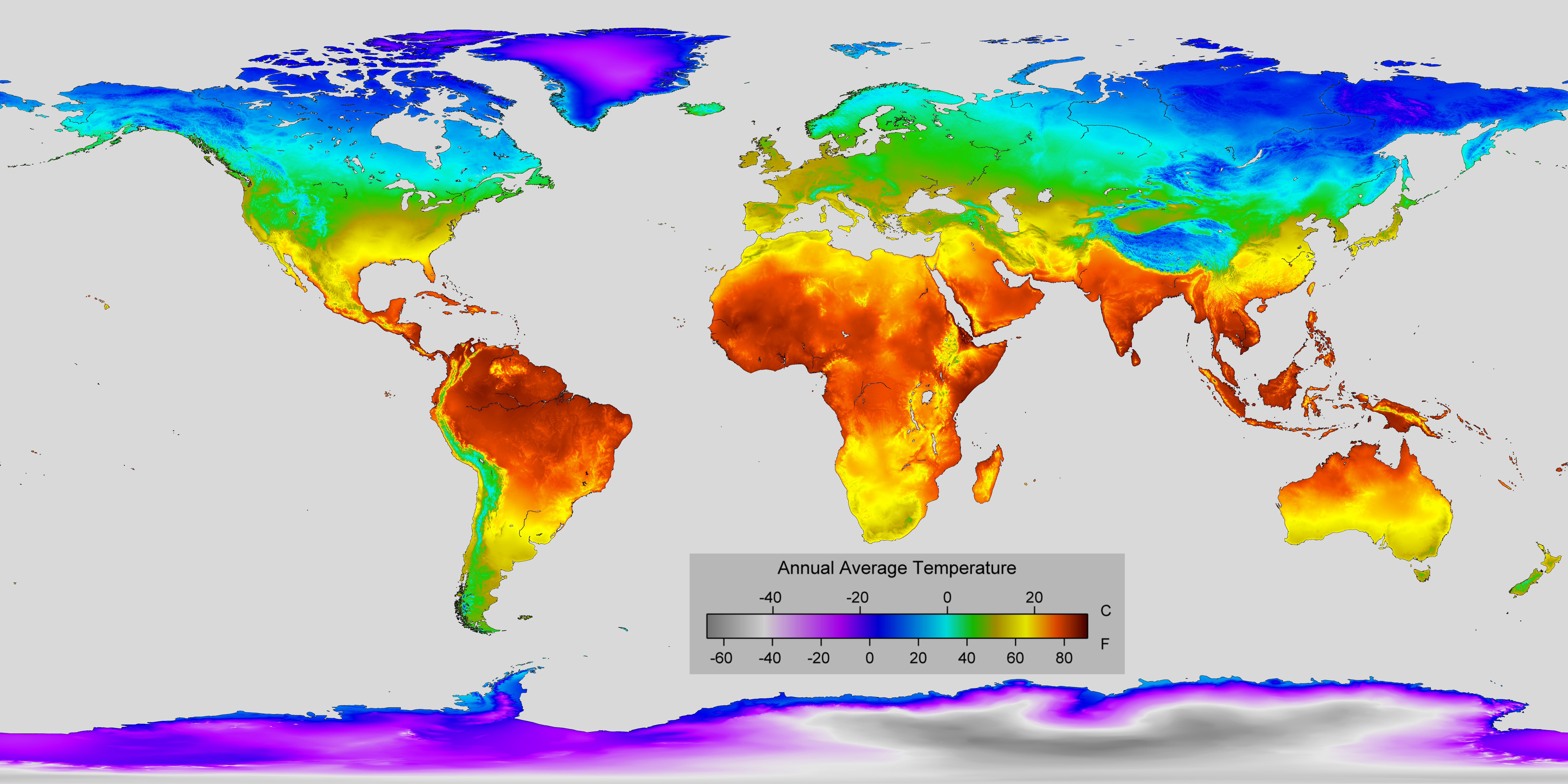 World Temperature Map Global annual average temperature map [8640x4320] [OS] : MapPorn