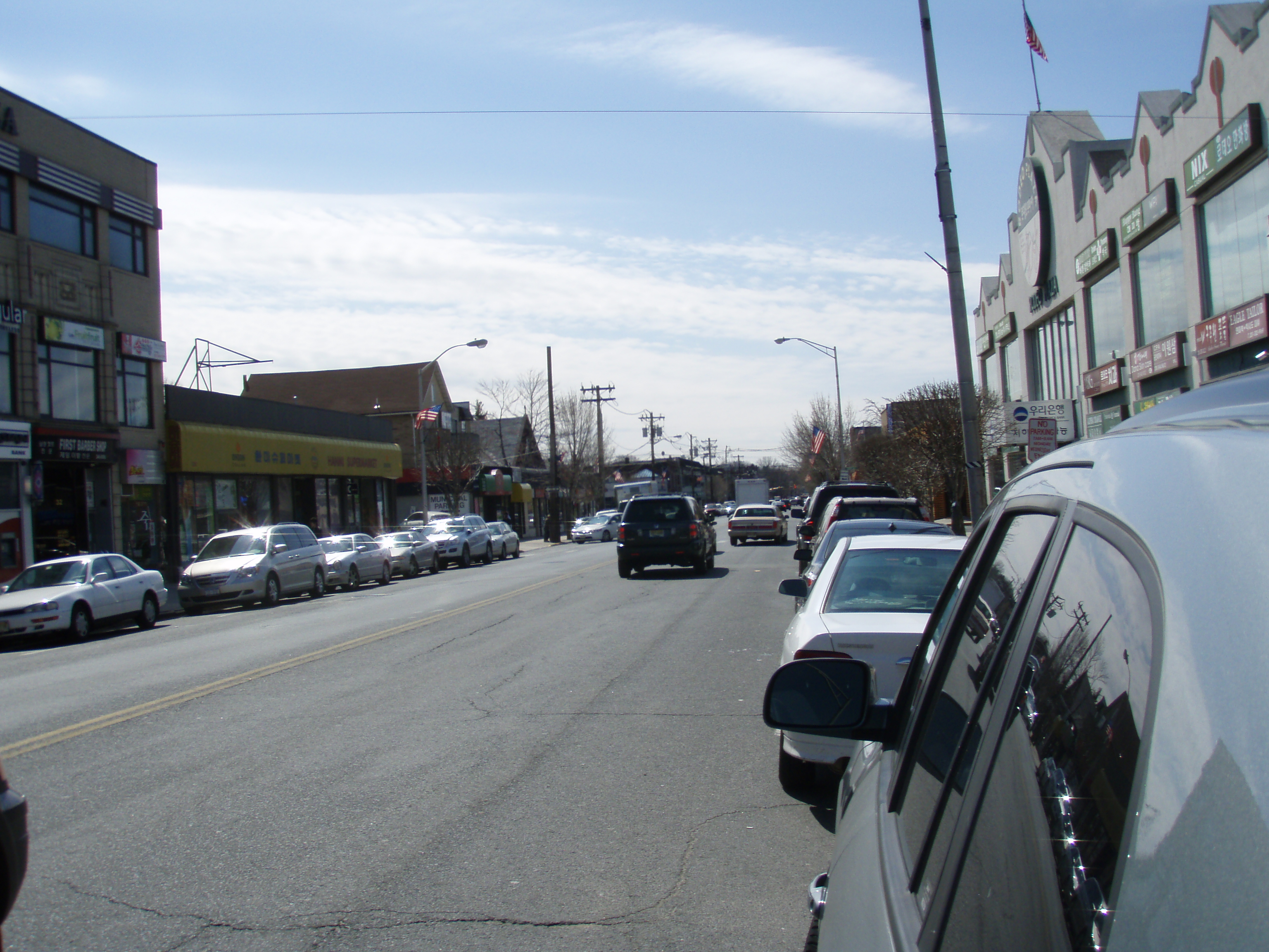 Broad Avenue, Koreatown in Palisades Park, Bergen County,<!-- cite book --> where Koreans comprise the majority (52%) of the population.<!-- cite web -->