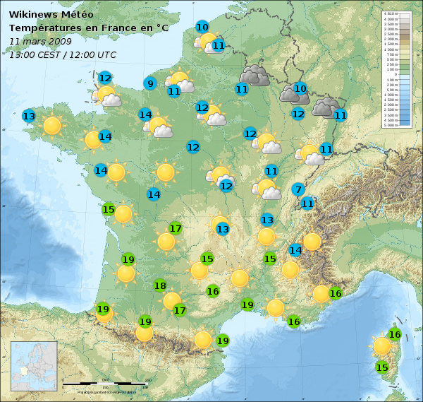 File carte m t o france 13 mars 2009 apr s wikimedia commons - Meteo a la carte france 3 ...