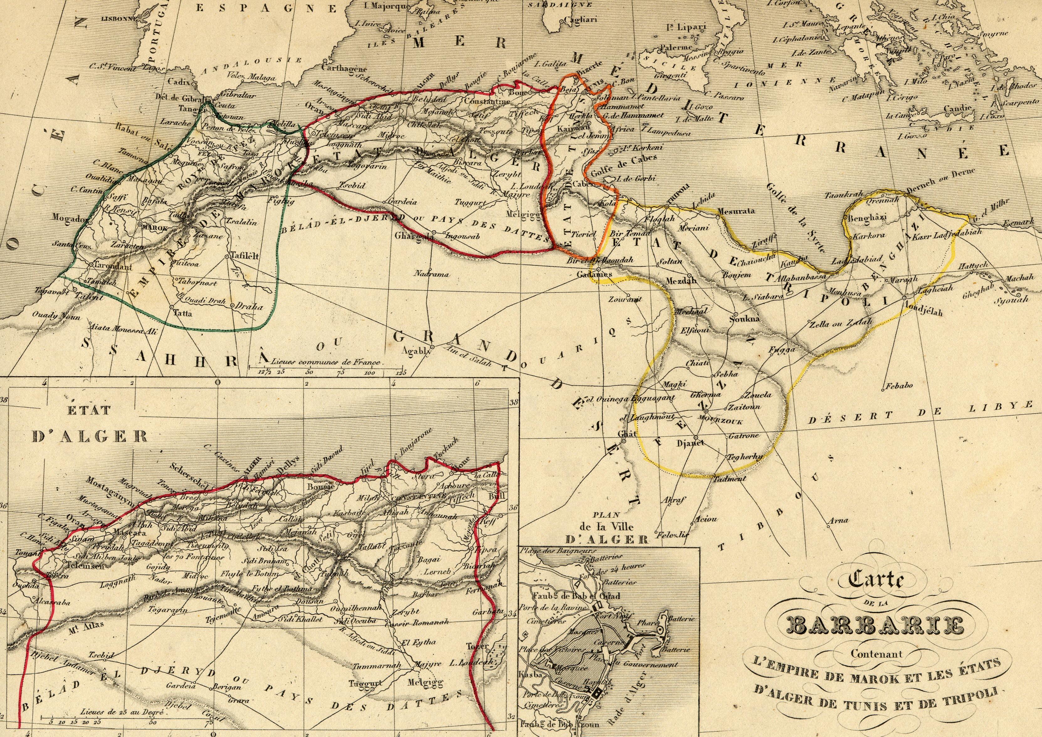 La carte du magrehb