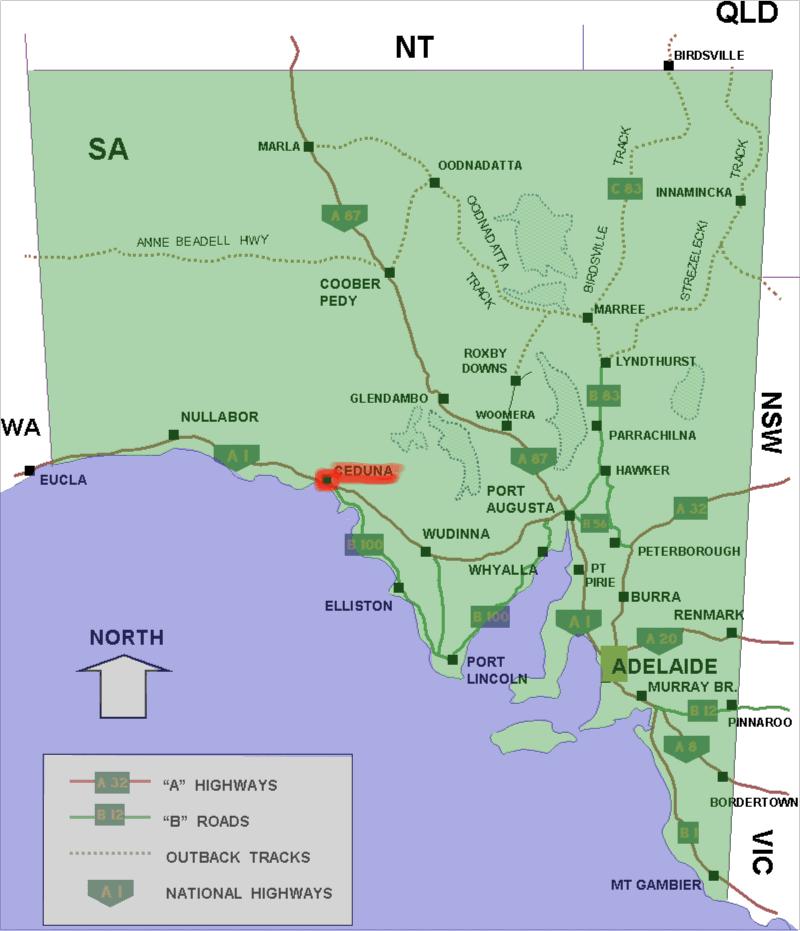 Ceduna Australia  city pictures gallery : Ceduna location map in South Australia