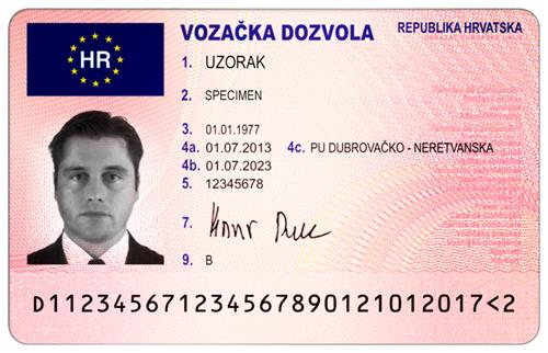 Croatian version of an EU driving licence card with the EU flag on it