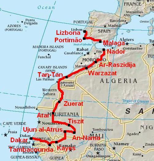 dakar rally africa map