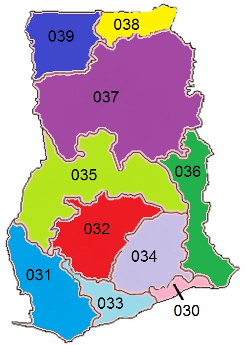 Area Codes in Ghana By Manny9455 (Own work) [Public domain], via Wikimedia Commons