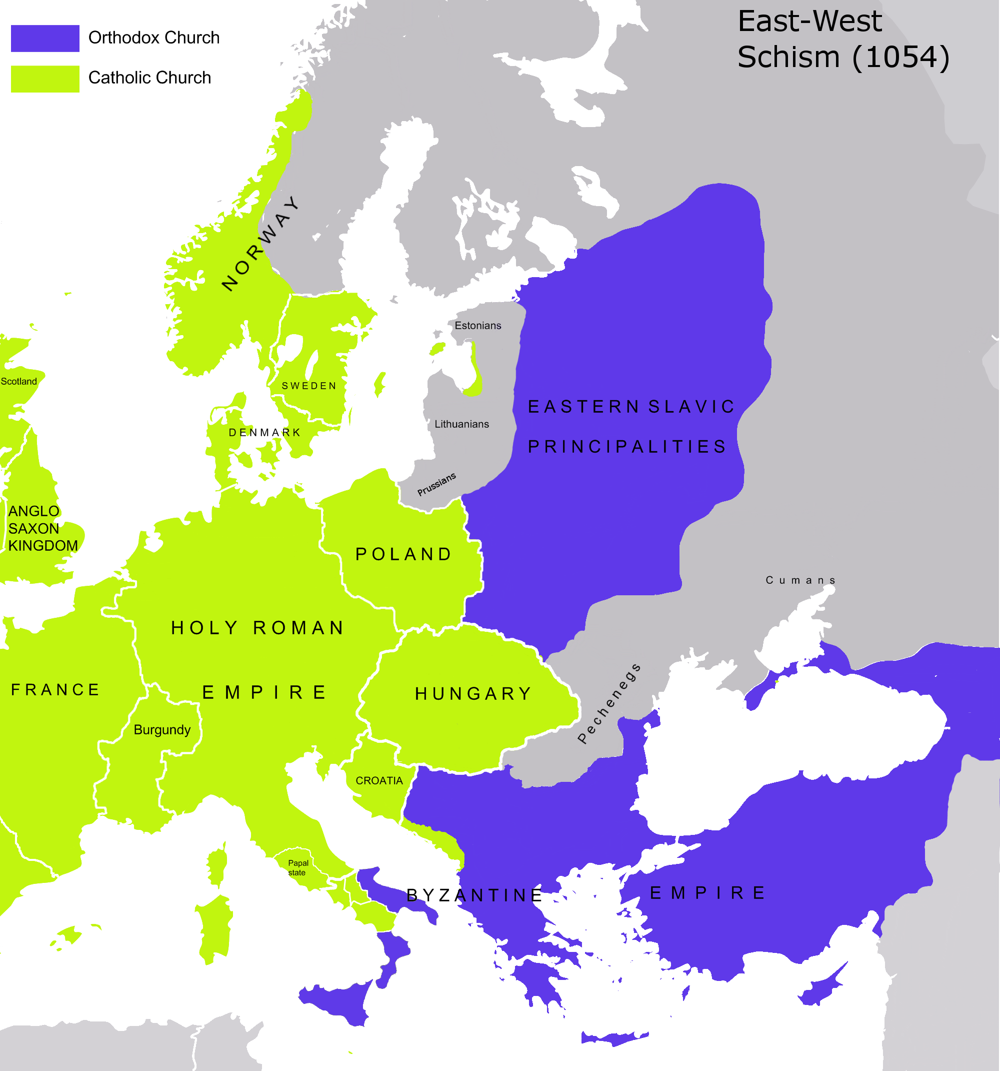 File:Great Schism 1054 with former borders-.png