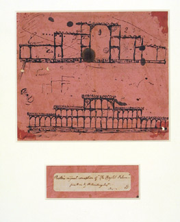 Joseph Paxton's first sketch for the Great Exhibition Building, about 1850, pen and ink on blotting paper; Victoria and Albert Museum