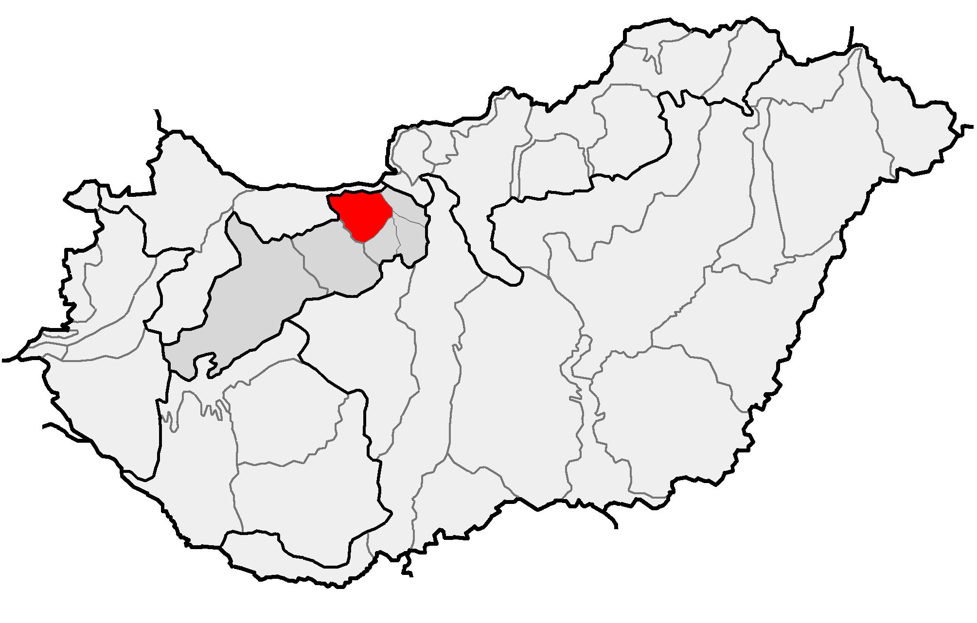 A Gerecse-vidék elhelyezkedése Magyarország térképén