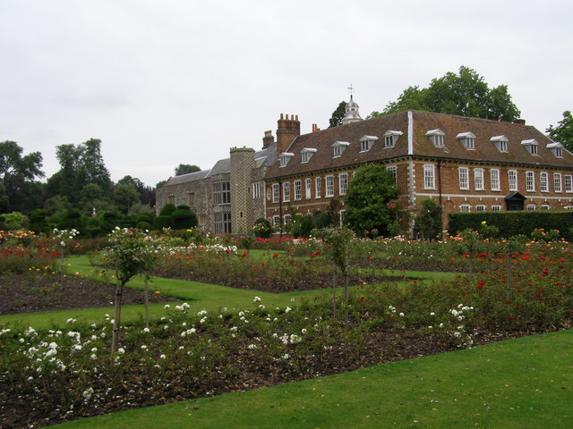 Hall Place and Rose Garden; Hall Place as seen from the rose garden.