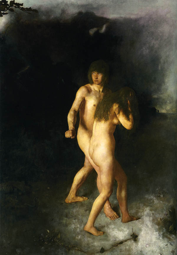 Adam and Eve expelled from Eden, by Hans Heyerdahl, 1877