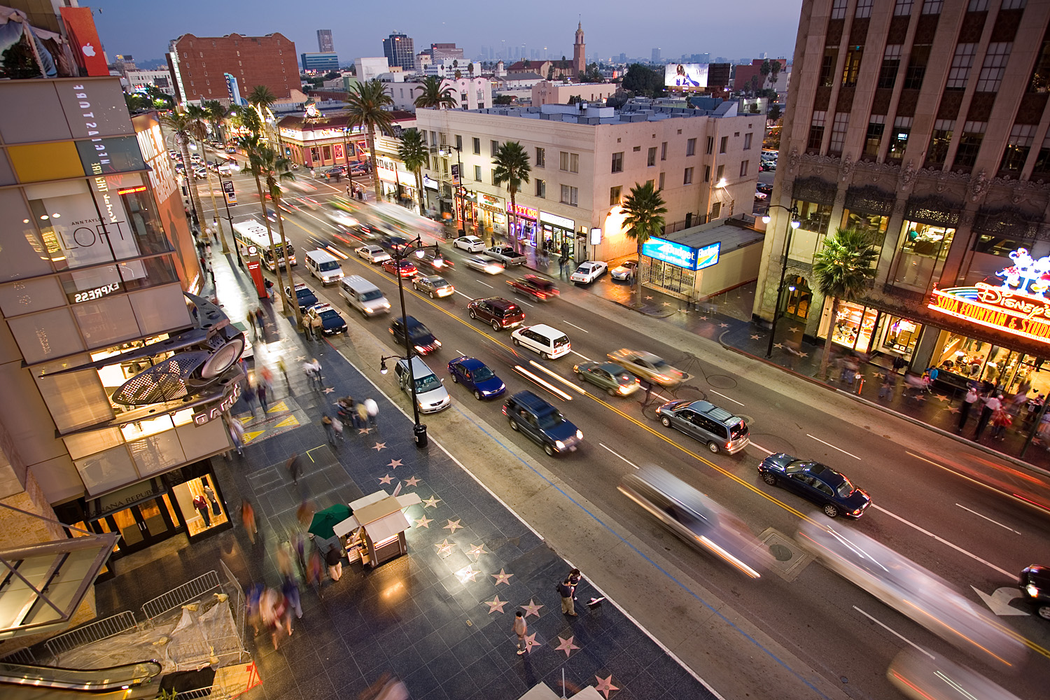 English: Hollywood Boulevard from the top of t...