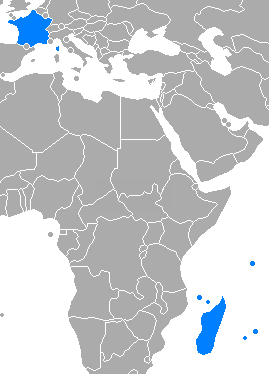 Map of Indian Ocean Commission members