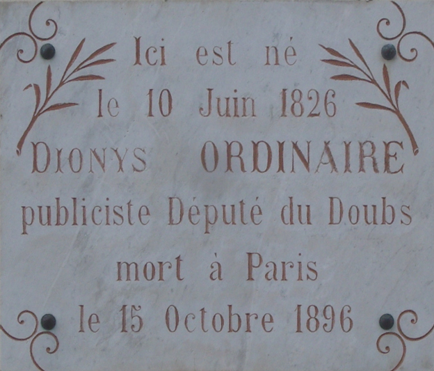 Jougne - plaque Dionys Ordinaire