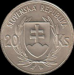 20 Slovak korún coin from 1939 - obverse