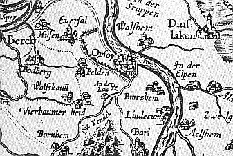 North of Duisburg Area in 1591 Karte um 1591.jpg