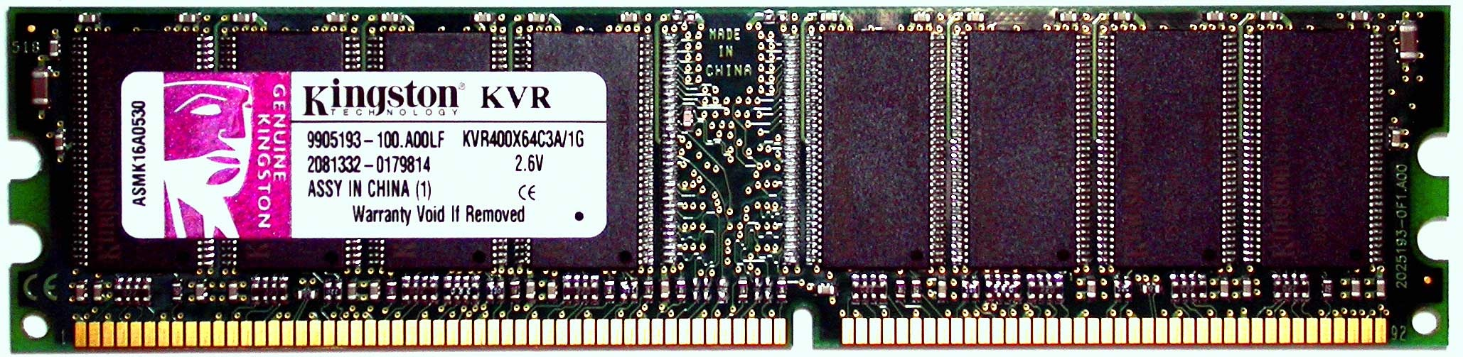 Kingston KVR400X64C3A 1G 20051111
