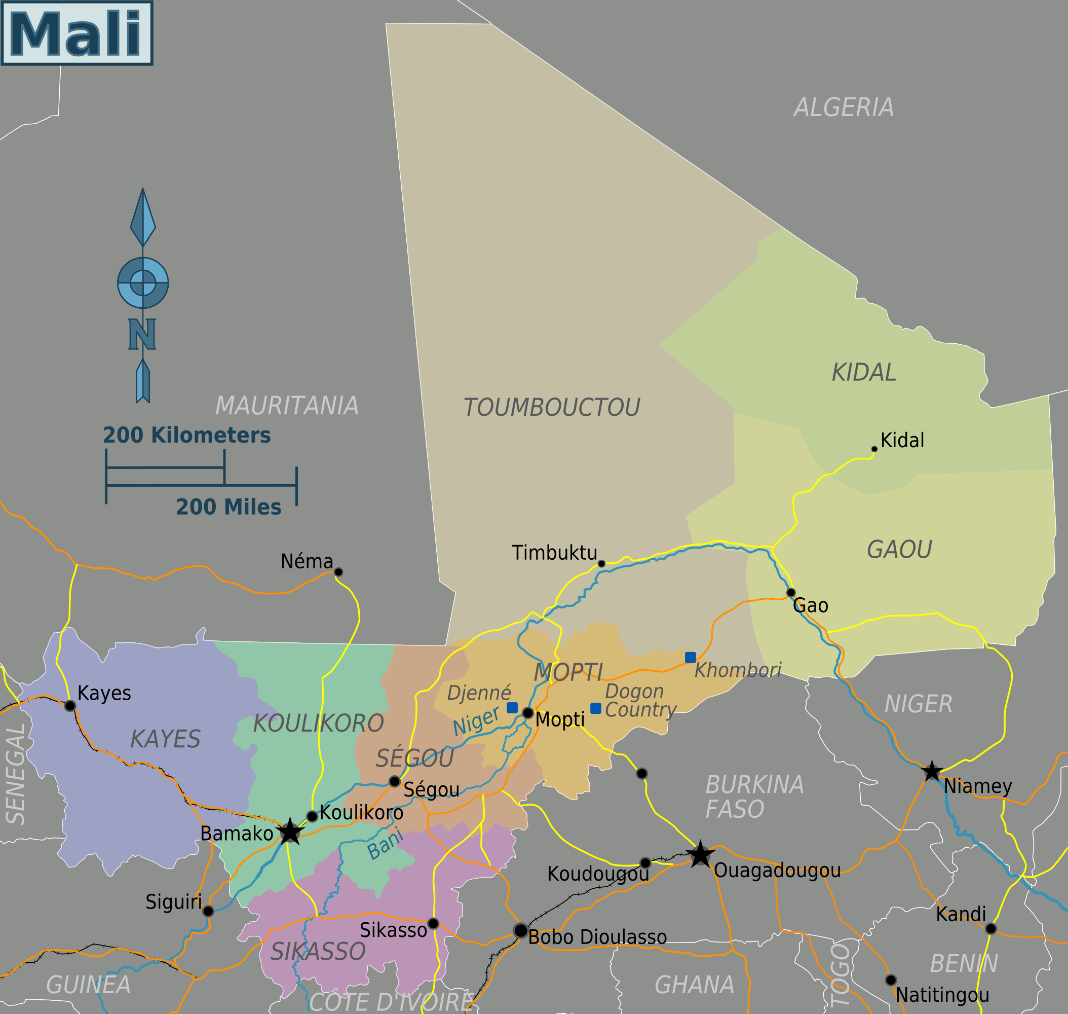 mali karte Mali Karte Provinzen mali karte