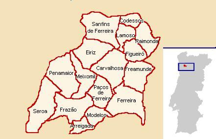 mapa de portugal paços de ferreira Ficheiro:Mapa do Concelho de Paços de Ferreira. – Wikipédia, a  mapa de portugal paços de ferreira