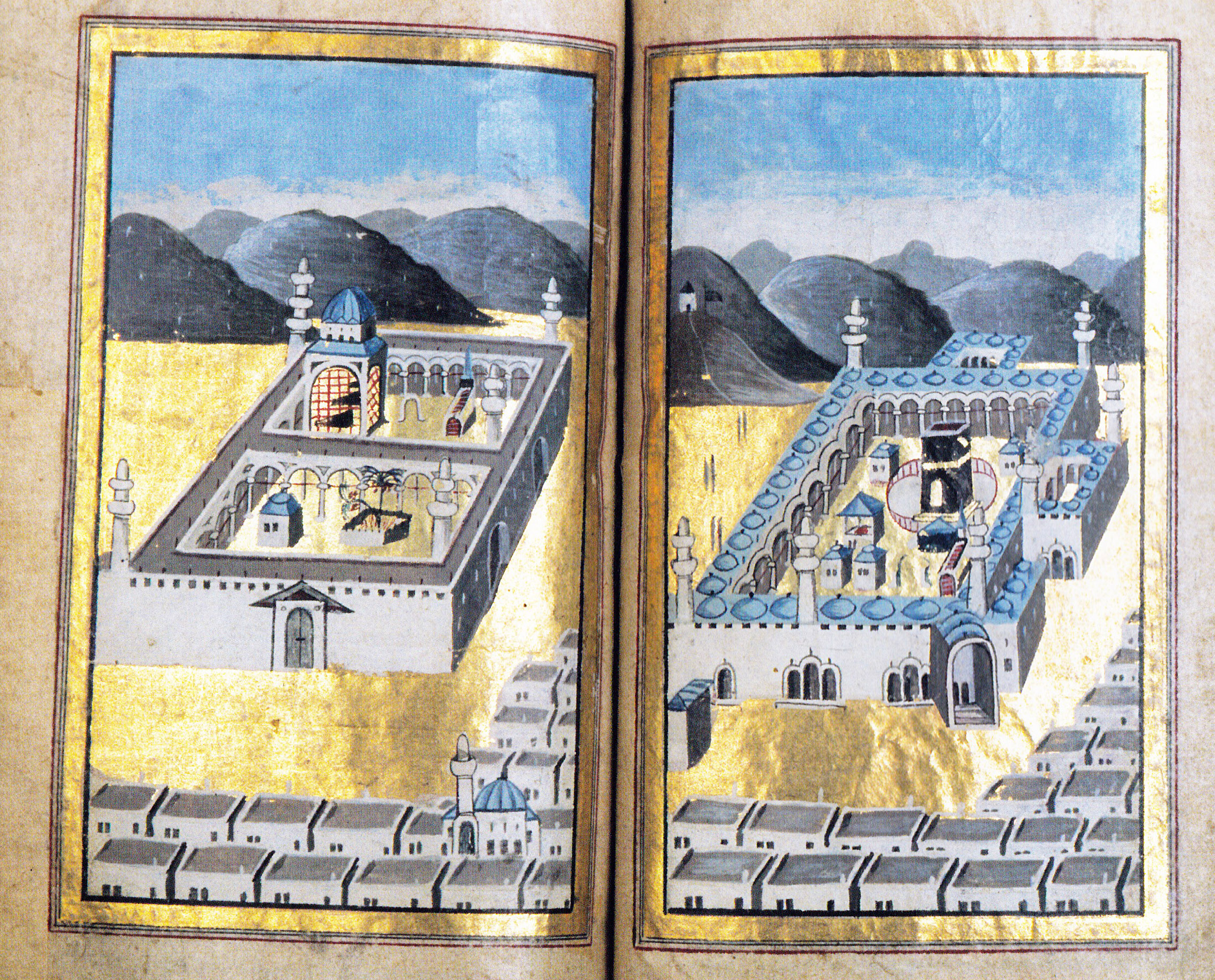 Ottoman representation of Holly mosques of Medina (in left) and Mekka (in right). XVIII century Stockholm, Sweden.