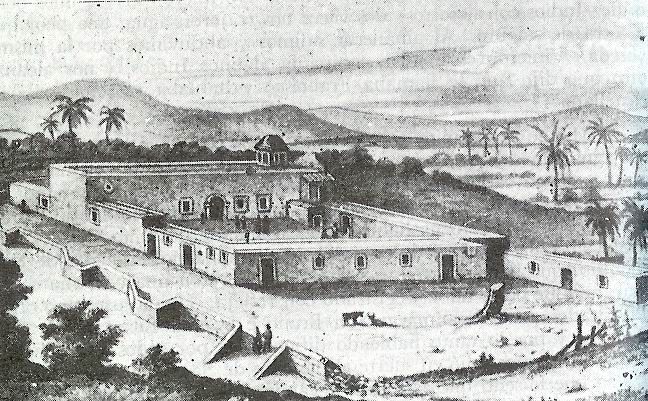 Mision de Nuestra Senora de Loreto Conchoo in the 18th century, the first permanent Jesuit mission in Baja California, established by Juan Maria de Salvatierra in 1697 Mision de Nuestra Senora de Loreto. Siglo XVIII.jpg