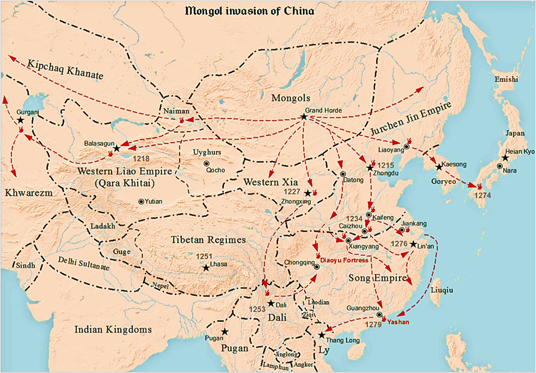 Mongol conquest of China - Wikipedia on khanbalik map, world map, chagatai khanate map, shangdu map, khitan map, william of rubruck map, cambaluc on map, xanadu map, burkhan khaldun map, changan on map, mongols map, ilkhanate of persia map, ibn battuta map, grand canal in asia map, ancient south east asia dynasty map, yinxu map, sarai map, zhoukoudian map, xianyang map, the safavid dynasty on map,