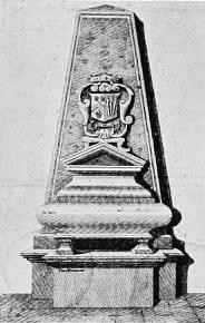 Monument to Lord Belasyse in the old Church of St Giles in the Fields, London, showing the arms of Belasyse impaling Paulet, for his 3rd wife. This monument was destroyed during the rebuilding of the present Georgian church