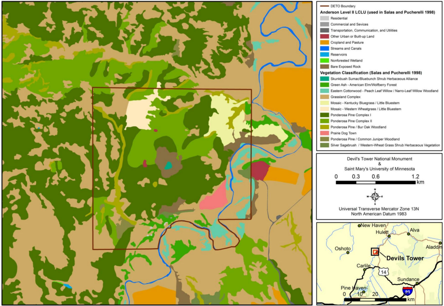 devils tower wyoming map File Nps Devils Tower Land Cover Map Jpg Wikimedia Commons devils tower wyoming map