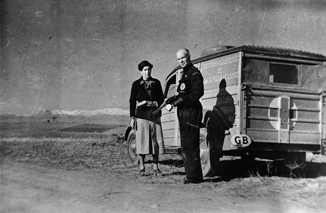 Norman Bethune in Spain with mobile blood transfusion unit.