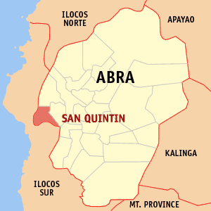 Map of Abra showing the location of San Quintin