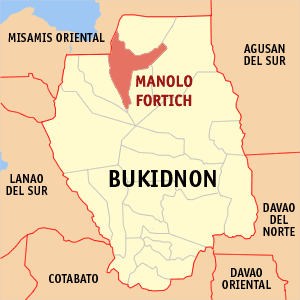 Map of Bukidnon showing the location of Manolo Fortich