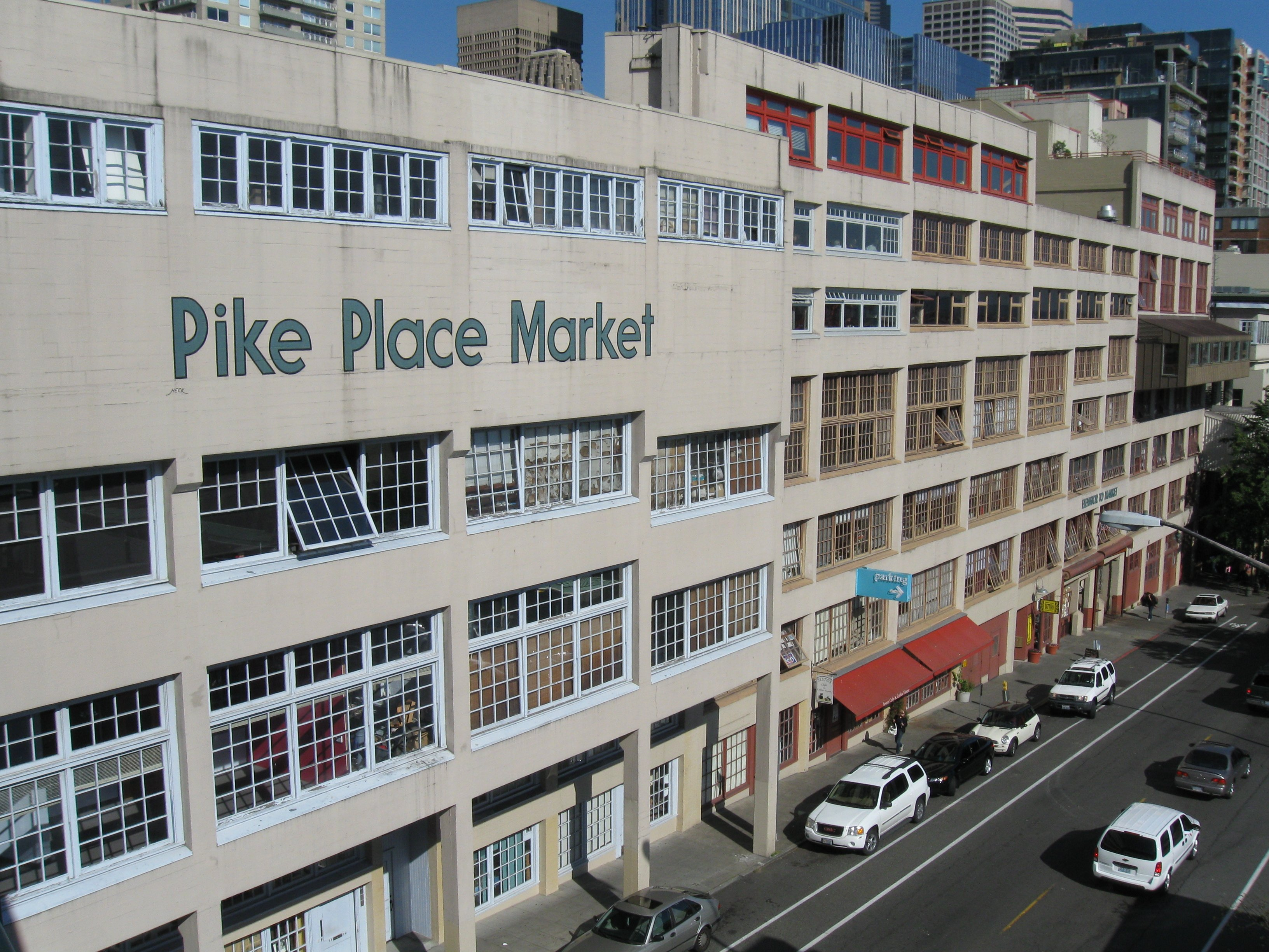 Pike Place Market In 2008 As Seen From Above Western Avenue The Top Floor Painted Text Is Street Level With