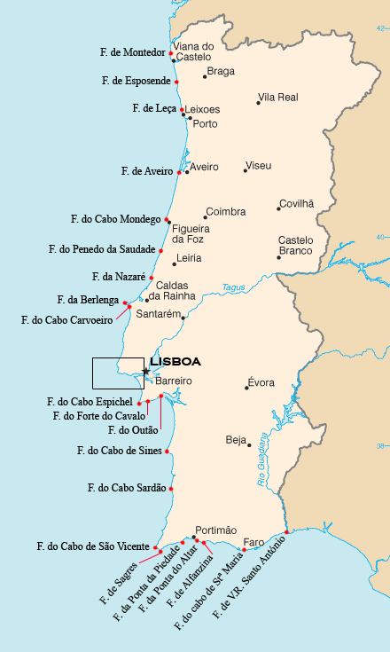 mapa dos cabos de portugal File:Portugal Lighthouses.png   Wikimedia Commons mapa dos cabos de portugal