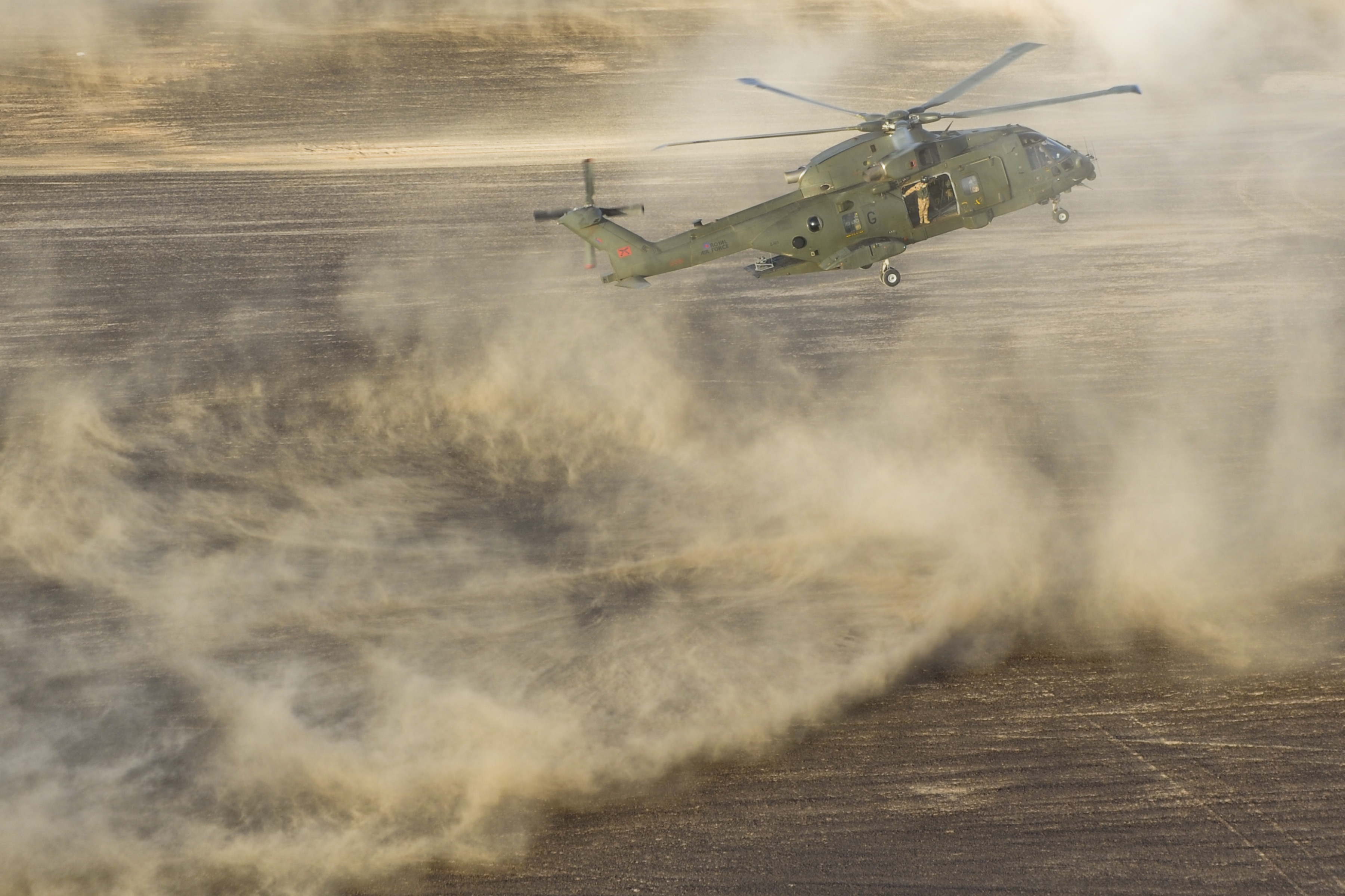 File:RAF Merlin Helicopters During Exercise Desert Vortex