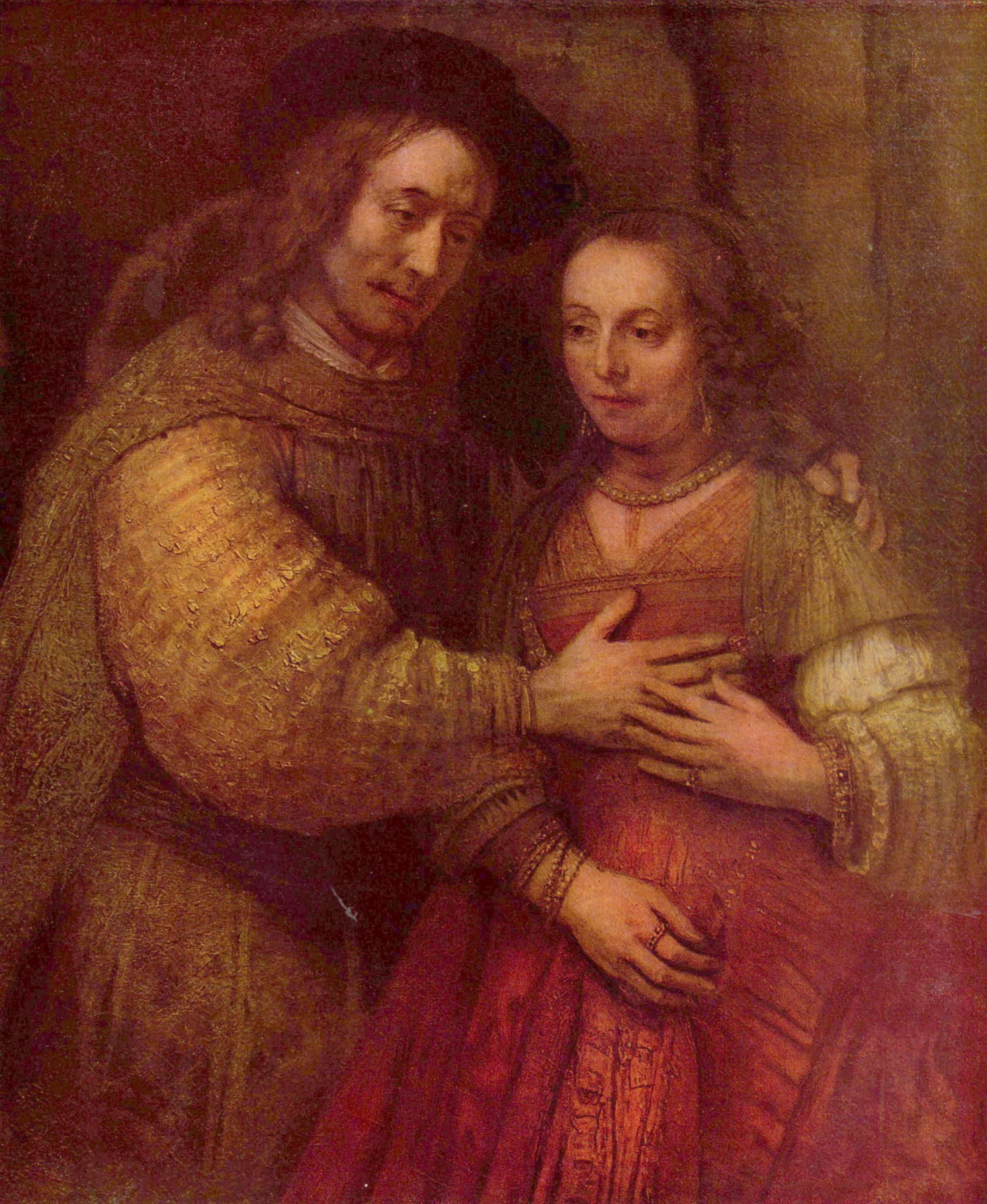 REMBRANDT Harmenszoon van Rijn Man The Jewish Bride c1666